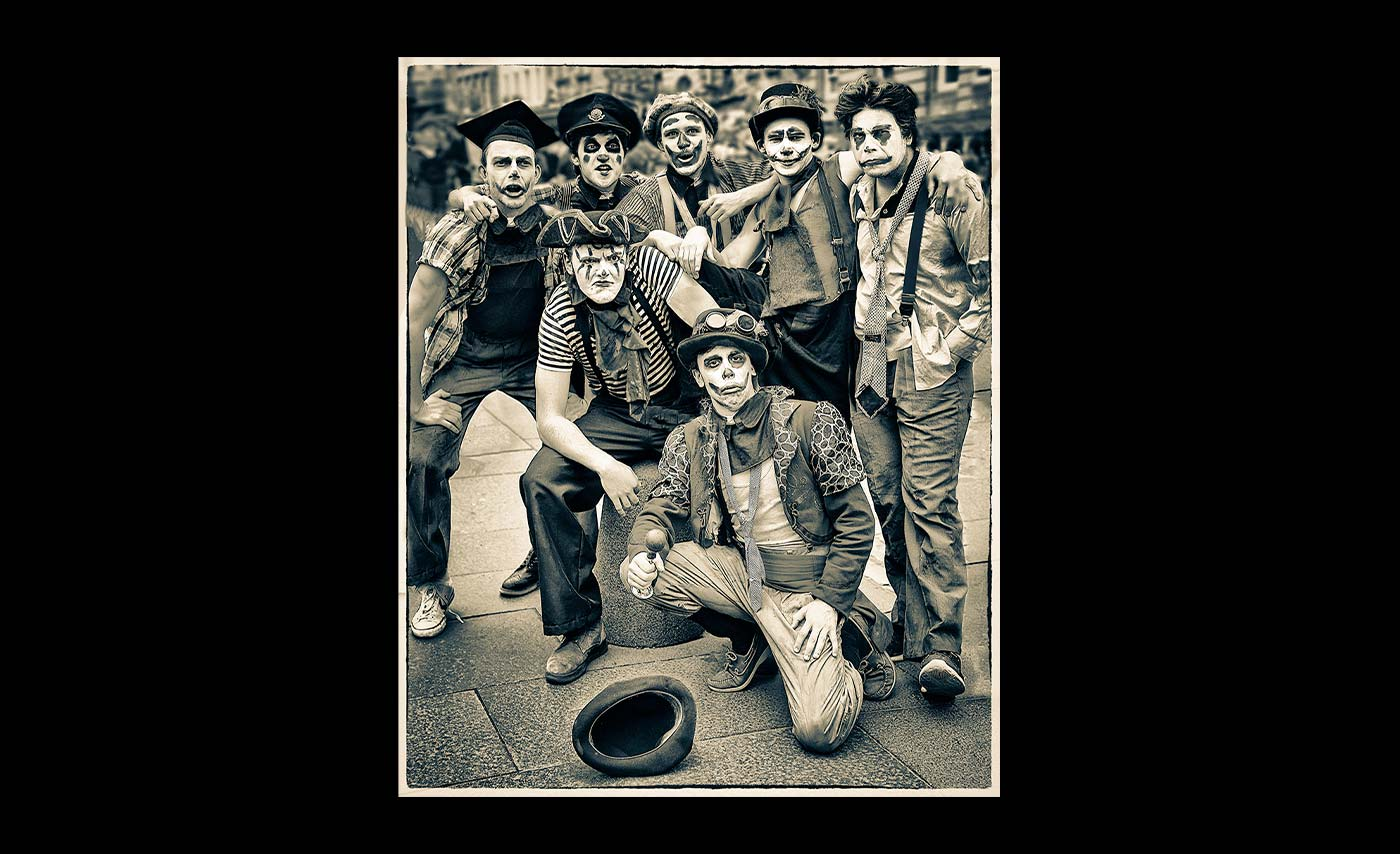 Advanced Mono Prints - First - Motley Crew by Mike Hughes