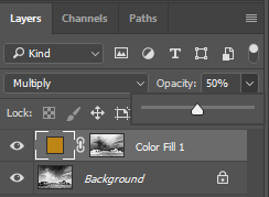 Photoshop-Layers-Colour Fill Layer-Opacity